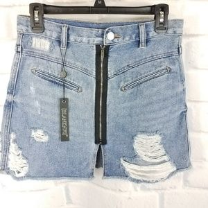 Blank NYC Distressed Zippered Jean Skirt NWT SZ 25